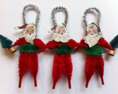 Check out our chenille selection for the very best in unique or custom, handmade pieces from our shops. Victorian Christmas, Primitive Christmas, Christmas Love, Retro Christmas, Christmas Items, Rustic Christmas, Christmas Projects, Handmade Christmas, Christmas Mantles
