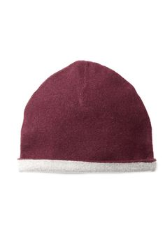 Black Currant & Light Heather Grey Reversible Cashmere Beanie