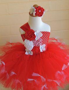 Red tutu dress Holiday dress Birthday tutu dress by Gurliglam