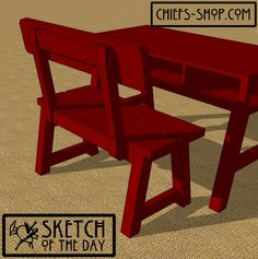 Sketch of the Day: Study Bench with Back