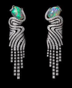 Opal & Diamond Earrings set in Platinum by Cartier