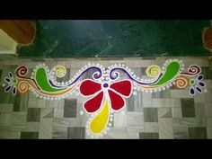 Colorful Border Rangoli Design (NEW) - YouTube