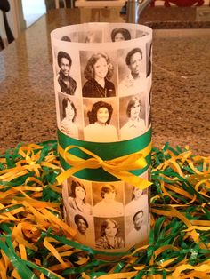 First table centerpiece for class reunion done! Using photos from junior year s… First table centerpiece for class reunion done! Using photos from junior year since senior photos will be on name tags & in slideshow. School Centerpieces, Reunion Centerpieces, Table Centerpieces, Table Decorations, Centerpiece Ideas, Balloon Decorations, High School Class Reunion, 10 Year Reunion, School Reunion Decorations
