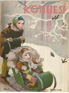 Kotiliesi Magazine cover by Martta Wendelin, Vintage Christmas Cards, Christmas Art, Xmas Cards, Vintage Magazines, Vintage Postcards, Girl Face Drawing, Retro Graphic Design, Nostalgic Images, Dashing Through The Snow