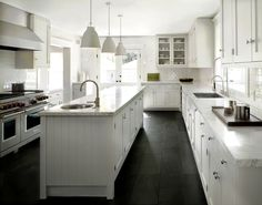 DCM Designs - kitchens - Farrow and Ball - Blackened - Caravaggio P0 Pendant, white kitchen, white cabinets, white kitchen cabinets, shaker ...