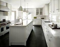 DCM Designs - kitchens - Farrow and Ball - Blackened - Caravaggio P0 Pendant, white kitchen, white cabinets, white kitchen cabinets, shaker ...
