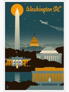 Washington, DC - Retro Skyline (no text) - Lantern Press Artwork Giclee Art Print, Gallery Framed, Espresso Wood), Multi Poster Art, Poster Prints, Art Prints, Framed Prints, Canvas Prints, Photo Vintage, Skyline Art, Vintage Travel Posters, Vintage Airline