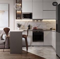Beautiful small kitchen design ideas and decor 27 Kitchen Room Design, Home Room Design, Kitchen Cabinet Design, Modern Kitchen Design, Living Room Kitchen, Home Decor Kitchen, Interior Design Kitchen, Home Kitchens, Classic Kitchen