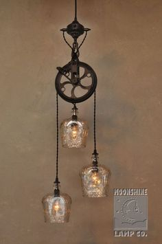 The Warehouser 3 Light Pulley Wheel Pendant Chandelier – Rustic Farmhouse Lighting - All For Decoration Farmhouse Lighting, Rustic Lighting, Industrial Lighting, Kitchen Lighting, Home Lighting, Vintage Lighting, Lighting Ideas, Rustic Light Fixtures, Industrial Shelving