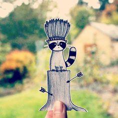 Indian racoon ;) #racoon #indian #illustration #drawing #wip #nature #handmade #instartist #inspiration #alillustration #blackandwhite #cute
