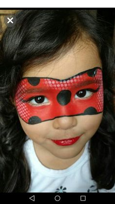 Girl Face Painting, Painting For Kids, Body Painting, Face Painting Tutorials, Face Painting Designs, Maquillage Halloween, Halloween Makeup, Halloween Kids, Ladybug Face Paint