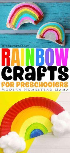 Rainbow Crafts for Preschoolers   Modern Homestead Mama Preschool Art Lessons, Art Activities For Kids, Preschool At Home, Toddler Preschool, Educational Activities, Toddler Crafts, Learning Activities, Preschool Activities, Weather Activities