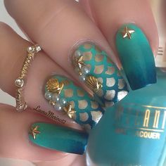 Seafoam and Teal Ombre Mermaid Nails With Gold Seashells.