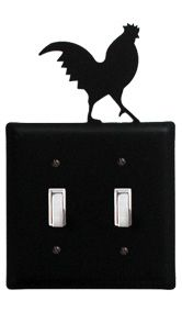Rooster Double Switch Plate Cover
