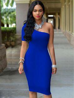 ffb119f1405 One-Shoulder Body con Club Dress. FierceCurvy DressSexy DressesSexy ...