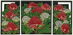Waratah Tryptich – A Fine Art Linocut Tutorial Stunning work by Lynette Weir! Linocut Artists, Australian Wildflowers, Australian Flowers, Australian Artists, Wildlife Art, Botanical Art, Art Studios, Art Tutorials, Art Drawings