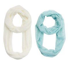 Girls 4-16 2-pk. Printed Foil & Solid Knit Scarves (Turq/Aqua)