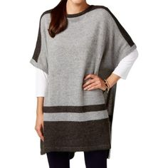 Vince Camuto Womens Modern Edge Mohair Blend Striped Poncho Sweater, Size: Medium/Large, Grey