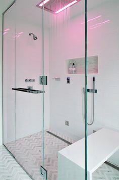 The Cura 954 Recessed Rainhead. Featured in @Sheri Leonard Design Bathroom design. #bathroom #Design #InteriorDesign #Decor #bathroomdesign #aquabrass #Shower