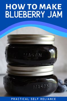 Blueberry Jam Recipe Without Pectin, Blueberry Jam Recipes, Blueberry Biscuits, Blueberry Jelly, Blueberry Season, Jelly Recipes, Fruit Recipes, Home Canning Recipes, 2 Ingredient Recipes
