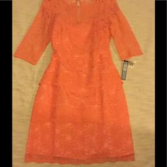 Tahari Orange Lace Dress With Sleeves (No Belt)