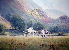 Paisaje original del acrílico 'Lakeland Farm' en Cumbria |  por Joe Silencio