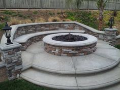 Stone Fire Pit With Stone Bench Sitting Benches