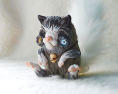 Tiny Gray White Grumpy Cat OOAK Art Doll with Skull by Ermellin