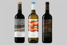 Picture of the labels on three bottles designed by Atipus for the project Rojalet. Published on the Visual Journal in date 3 September 2015