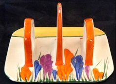 Clarice Cliff Bizarre Art Pottery Crocus Toast Holder Rare in Pottery & Glass, Pottery & China, China & Dinnerware China Art, China China, Pie Bird, Bizarre Art, Clarice Cliff, Art Deco Period, Art Deco Design, Ceramic Artists, Pottery Art