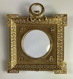 Antique French Portrait Miniature or Photo Frame, Wreath Top, Appliques, Convex Glass Antique Frames, Old Ones, Portrait, French Antiques, Appliques, It Cast, Miniatures, Victorian