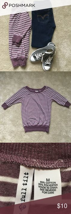 3/4 sweater. Sz M. Super cute for fall! Sort of a dark raspberry and white stripe, 3/4 length, thin sweatshirt material from Tillys. GUC. Smoke free/pet friendly home. Tilly's Sweaters Crew & Scoop Necks