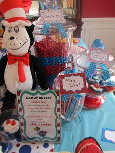 Red and blue candy buffet at a Cat in the Hat Birthday Party!  See more party ideas at CatchMyParty.com!