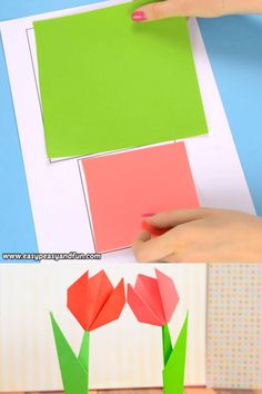 Learn how to make origami flowers – this origami tulip tutorial will teach you how to make a super easy flower that stands on it's own! basteln papier How to Make Origami Flowers – Origami Tulip Tutorial with Diagram Instruções Origami, Paper Crafts Origami, Paper Crafting, Tulip Origami, Easy Origami Flower, Origami Tattoo, Origami Hearts, Origami Videos, Dollar Origami