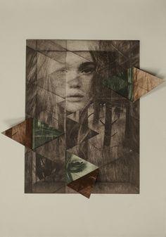 Elisa de la Torre. Open Book --Grabado, litografía, dibujo, mujer,  bosque, pop-up, arte, ilustración.