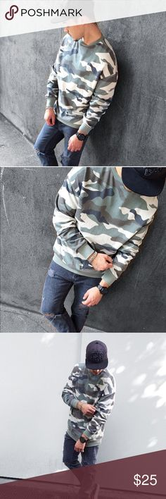 Camo army green sweater urban light wash street •brand new with tags •brand added for exposure tags are from Timeless Look Men we sell on our shop in Miami  •GREAT quality  •Material: Sweater •ships tomorrow •true to size of size Supreme Tops Sweatshirts & Hoodies