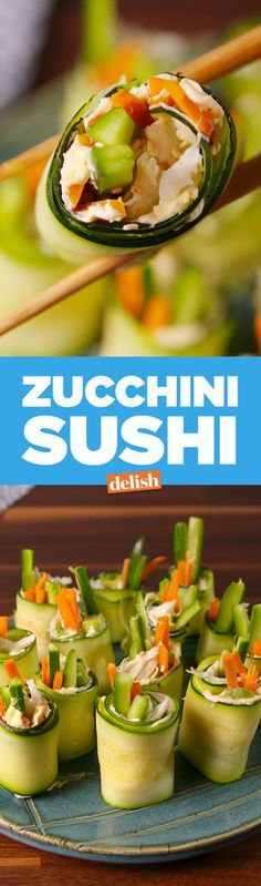 Zucchini Sushi Is Our Newest Low-Carb Obsession Healthy Cooking, Healthy Snacks, Healthy Eating, Low Carb Recipes, Vegan Recipes, Cooking Recipes, Keto Foods, Lchf, Appetizer Recipes
