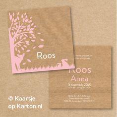 Geboortekaartje Roos | Kaartje op Karton | Letterpress stijl en zeefdruk geboortekaartjes