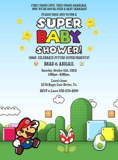 Mario Birthday baby shower BOY Invitation Invite Printable file nintendo old Mario brothers