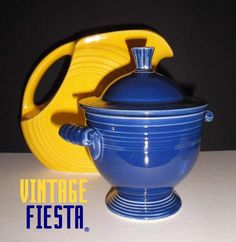 yellow juice pitcher and cobalt sugar bowl   love these two colors together