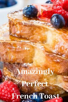 Amazingly Perfect French Toast  The perfect French toast recipe that's easy to form and cooks perfectly whenever . Crisp and crunchy on the surface and crazy the inside! This post may contain affiliate links. once you click on these links, i buy alittle percentage back that helps me run my blog at no cost to you! For more information see my disclosure policy. I'm noticing a trend with my recipes lately.    #Amazingly #Perfect #French #Toast Yummy Chicken Recipes, Easy Delicious Recipes, Easy Cookie Recipes, Yum Yum Chicken, Simple Recipes, My Recipes, Perfect French Toast, Good Food, Yummy Food