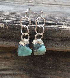 Sale Crystal Emerald Earrings, Raw Emerald Earrings, Silver Earrings, May birthstone Earrings, Crystal Earrings by NaturefyingJewelry on Etsy