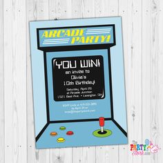 Arcade Invitation, Arcade or Video Game Party, Video Game Invitation, Arcade Birthday Party Invitation, Video Game Party, Printable Invite Kids Birthday Party Invitations, 50th Birthday, Digital Invitations, Printable Invitations, Invitation Design, Invite, 80s Theme, Video Game Party, Party Flyer