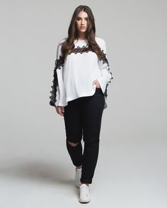 """""""Lace Art"""" trend • mat. S/S 2017 collection Xl Fashion, Curvy Fashion, Lace Art, Bell Sleeve Top, Normcore, Spring Summer, Plus Size, Curvy Style, Collection"""