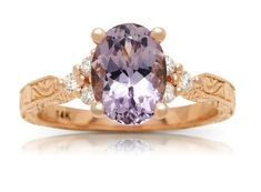 Vintage Style Lilac Spinel Ring in Rose Gold — Dixon Jewellers Vintage Style Engagement Rings, Rose Gold Engagement Ring, Engraved Jewelry, Purple Wedding, Diamond Cuts, Lilac, Heart Ring, Vintage Fashion, Jewels