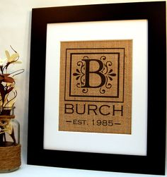 Personalized Burlap print by BusyBeeBurlap on Etsy.
