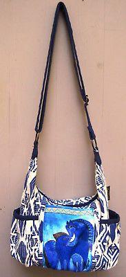 Laurel Burch Indigo Mares Teal Blue Horses Cross Body Shoulder Bag Tote Pockets