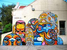 Beastman x Phibs x Creepy New Mural In Sydney, Australia StreetArtNews 3d Street Art, Murals Street Art, Urban Street Art, Best Street Art, Amazing Street Art, Street Art Graffiti, Street Artists, Graffiti Artwork, Graffiti Wall