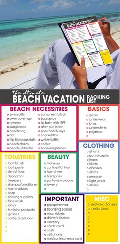 beach vacation packing list spring break packing list free printable what to pack for vacation via moritzdesigns What To Pack For Vacation, Beach Vacation Packing List, Packing List For Travel, Travel Checklist, New Travel, Travel Tips, Travel Hacks, Beach Vacations, Packing Hacks
