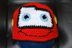 Lightning McQueen Character Hat Size 3 to 7 Years. $15.00, via Etsy.